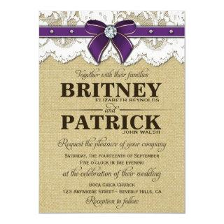 Purple Rustic Vintage Burlap Wedding Invitations