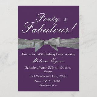 Purple & Silver Bow Party Event Invitations