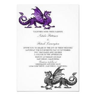 Purple Silver Dragon Wedding Invite