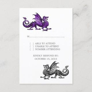 Purple Silver Dragon Wedding Response Card