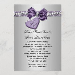 Purple Silver Faux Ribbon Diamonds Heart Locket We Invitations