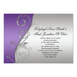 Purple Silver Floral Swirls Wedding Invitations