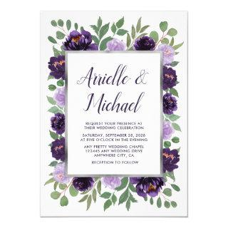 Purple Silver Floral Watercolor Eucalyptus Wedding Invitation