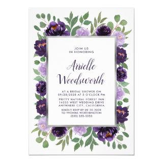 Purple Silver Floral Watercolor Plum Bridal Shower Invitation