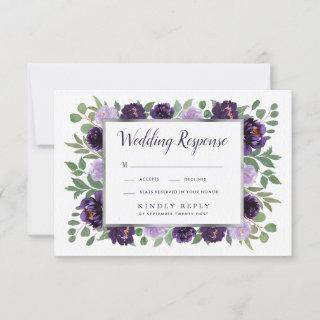 Purple Silver Floral Watercolor Wedding RSVP Cards