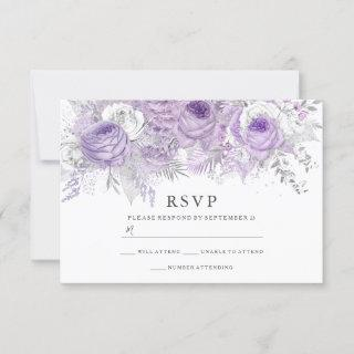 Purple & Silver Flowers Elegant Wedding RSVP