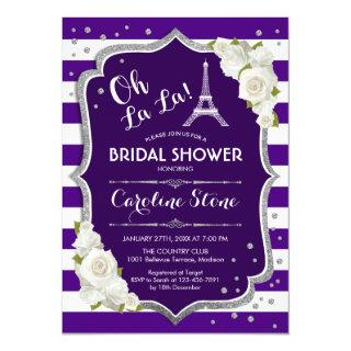 Purple Silver French Style Bridal Shower Invitation