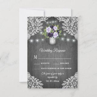 Purple Silver Gray Floral Lace Wedding RSVP Cards