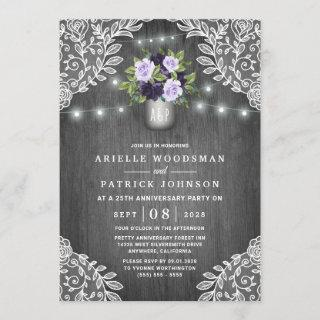 Purple Silver Gray Floral Rustic Anniversary Party Invitations