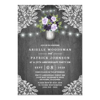 Purple Silver Gray Floral Rustic Anniversary Party Invitation