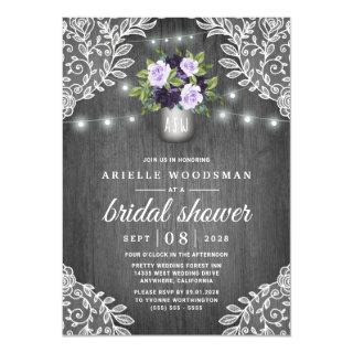 Purple Silver Gray Floral Rustic Bridal Shower Invitation