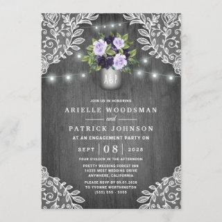 Purple Silver Gray Floral Rustic Engagement Party Invitations