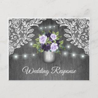 Purple Silver Gray Floral Rustic Jar Wedding RSVP Invitation Postcard