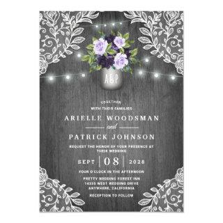 Purple Silver Gray Floral Rustic Mason Jar Wedding Invitations