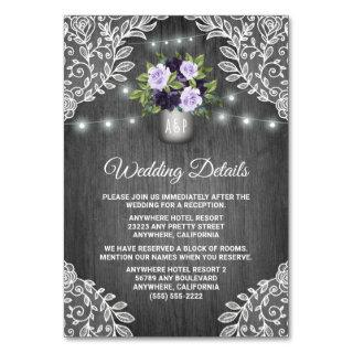 Purple Silver Gray Floral Wedding Insert Cards