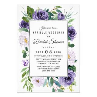 Purple Silver Gray Watercolor Floral Bridal Shower Invitations