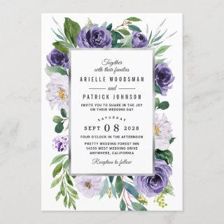 Purple Silver Gray Watercolor Floral Wedding Invitations