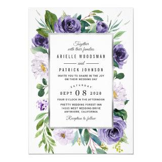 Purple Silver Gray Watercolor Floral Wedding Invitation