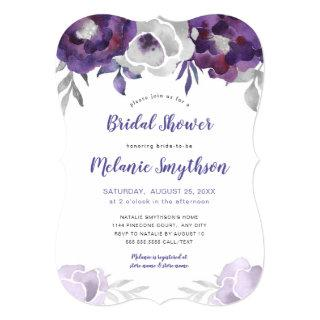 Purple Silver Watercolor Floral bridal shower Invitations