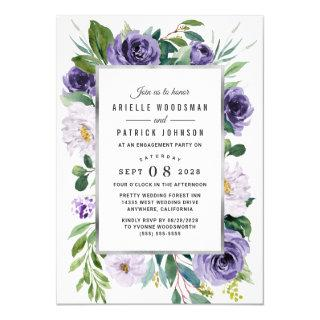 Purple Silver Watercolor Floral Engagement Party Invitations