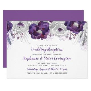 Purple Silver Watercolor Floral wedding reception Invitations