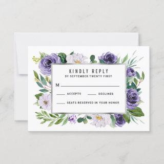 Purple Silver Watercolor Floral Wedding RSVP Cards