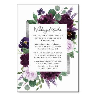 Purple  Silver Watercolor Wedding Enclosure Cards