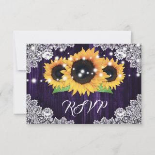 Purple Sunflower Wedding RSVP Cards Meal Choice