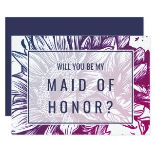 Purple Sunflowers Will You Be My Maid of Honor Invitations