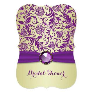 Purple swirls on gold Bridal Shower Invitation