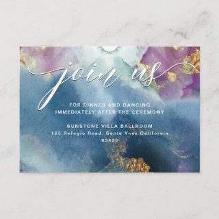 Purple, Teal and Blue Watercolor Reception Details Enclosure Card