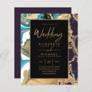 Purple Teal and Gold Agate Budget Wedding Invites