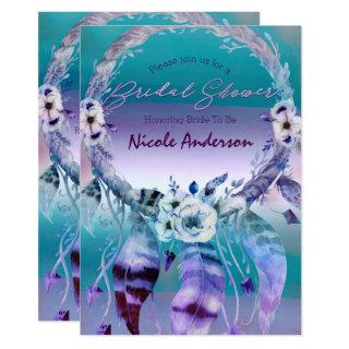 Purple & Teal Dream Catcher Boho Bridal Shower Invitations