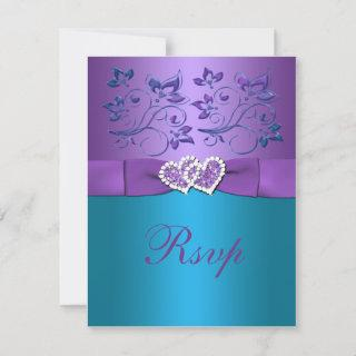 Purple, Teal Floral Hearts Monogram Wedding RSVP