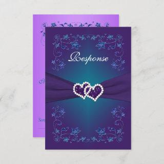 Purple, Teal Floral Hearts Wedding RSVP Invitations