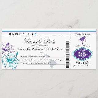 Purple Teal Hibiscus Flower Hawaii Boarding Pass Save The Date