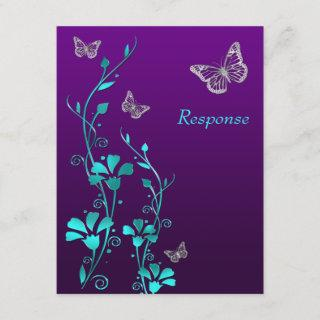 Purple Teal Silver Floral, Butterflies RSVP Card