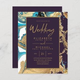 Purple Turquoise Gold Agate Budget Wedding Invites