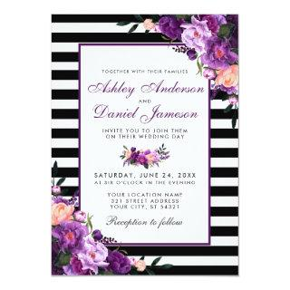 Purple Violet Floral Black Stripes Wedding Invitation