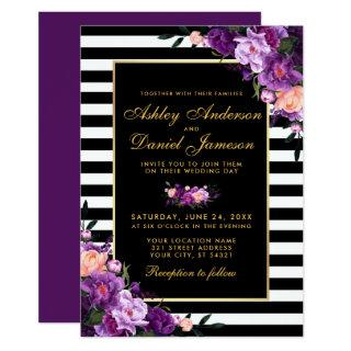 Purple Violet Floral Gold Black Stripes Wedding BP Invitations