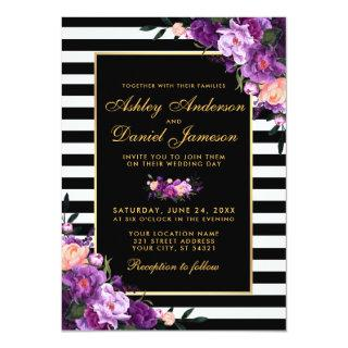 Purple Violet Floral Gold Black Stripes Wedding Invitations
