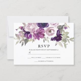 Purple Violet Floral Watercolor Wedding RSVP Card