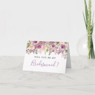 Purple Violet Lilac Will You Be My Bridesmaid Card