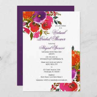 Purple Watercolor Floral Virtual Bridal Shower Invitation