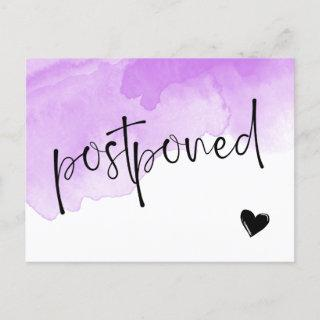 Purple Watercolor Postponed Wedding Announcement Postcard