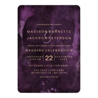 Purple Watercolor Rose Gold Wedding Invitations