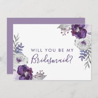 Purple Watercolor Will You Be My Bridesmaid Invitation