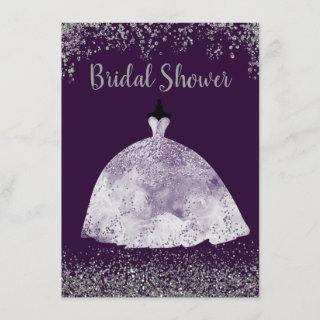 Purple Wedding Dress Silver Glitter Bridal Shower Invitations