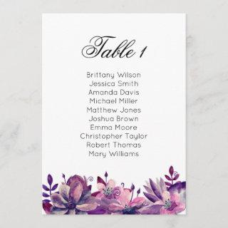 Purple wedding seating chart. Boho table plan Invitations