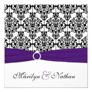 Purple, White and Black Damask Wedding Invitations